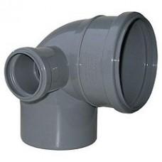 Колено канализационное левое 100/50/90 мм